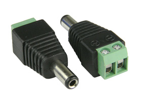 Male power plug with terminal connector screws.